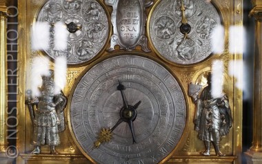 Gold and silver clock.